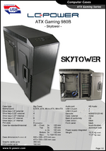 Datasheet ATX case Gaming 980B Skytower