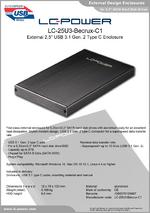 """Datasheet 2,5"""" enclosure LC-25U3-Becrux-C1"""