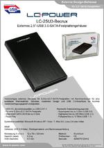 "Datenblatt 2,5""-Festplattengehäuse LC-25U3-Becrux"