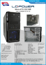 Datasheet Micro-ATX case 2001MB with PSU LC420H-12