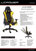 Datasheet gaming chair LC-GC-600BY