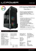 Datasheet ATX case Gaming 984B-RGB Dragonslayer 2
