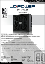 Datasheet ATX power supply unit LC550 V2.31 Platinum