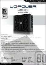 Datasheet ATX power supply unit LC550 V2.31 Platinum