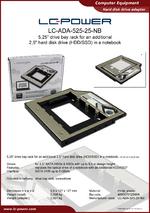 Datasheet drive bay rack LC-ADA-525-25-NB