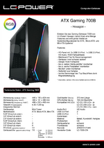 Datenblatt ATX-Gehäuse Gaming 700B Hexagon