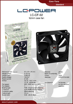 Datasheet 92 mm case fan LC-CF-92