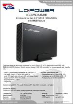"Datasheet 2,5"" RAID enclosure LC-225U3-RAID"
