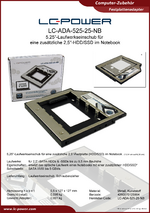 Datenblatt Laufwerkseinschub LC-ADA-525-25-NB