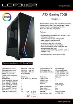 Datasheet ATX case Gaming 700B Hexagon