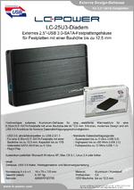 "Datenblatt 2,5""-Festplattengehäuse LC-25U3-Diadem"