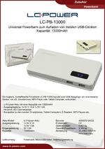 Datenblatt Powerbank LC-PB-13000