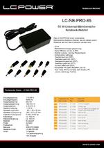 Datenblatt Notebook-Netzteil LC-NB-PRO-65