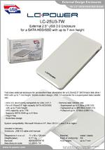 "Datasheet 2,5"" enclosure LC-25U3-7W"