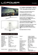 Datasheet PC monitor LC-M34-UWQHD-100-C