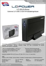 "Datenblatt 3,5""-Festplattengehäuse LC-35U3-Sirius"