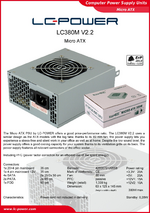 Datasheet Micro-ATX power supply unit LC380M V2.2