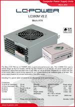 Datasheet Micro-ATX power supply unit LC380M V2.2