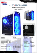 Datenblatt ATX-Gehäuse Gaming 988W Blue Typhoon