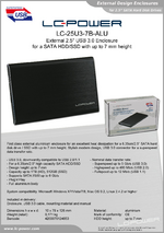 "Datasheet 2,5"" enclosure LC-25U3-7B-ALU"