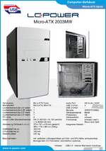 Datenblatt Micro-ATX-Gehäuse 2003MW