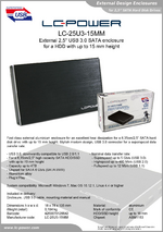 "Datasheet 2,5"" enclosure LC-25U3-15MM"
