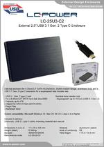 """Datasheet 2,5"""" enclosure LC-25U3-C2"""