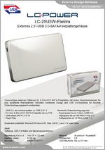 """Datenblatt 2,5""""-Festplattengehäuse LC-25U3W-Elektra"""