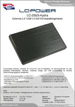 "Datenblatt 2,5""-Festplattengehäuse LC-25U3-Hydra"