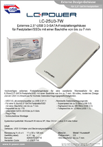 "Datenblatt 2,5""-Festplattengehäuse LC-25U3-7W"