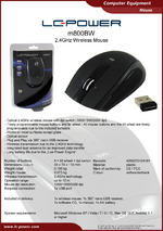 Datasheet wireless PC mouse m800BW