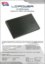 "Datasheet 2,5"" enclosure LC-25U3-Hydra"
