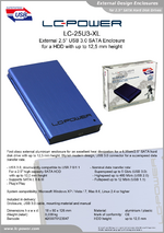 "Datasheet 2,5"" enclosure LC-25U3-XL"