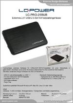 """Datenblatt 2,5""""-Festplattengehäuse LC-PRO-25BUB"""