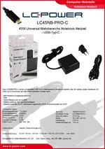 Datenblatt Notebook-Netzteil LC45NB-PRO-C