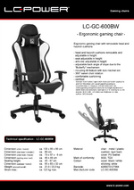 Datasheet gaming chair LC-GC-600BW