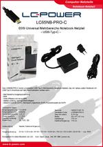 Datenblatt Notebook-Netzteil LC65NB-PRO-C