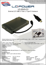 """Datasheet 2,5"""" enclosure LC-25U3-C3"""