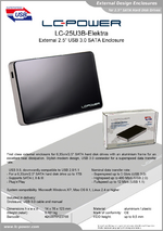"Datasheet 2,5"" enclosure LC-25U3B-Elektra"