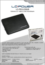 "Datasheet 2,5"" enclosure LC-PRO-25BUB"