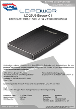 "Datenblatt 2,5""-Festplattengehäuse LC-25U3-Becrux-C1"