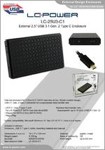 """Datasheet 2,5"""" enclosure LC-25U3-C1"""