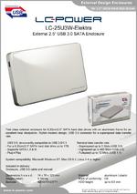 "Datasheet 2,5"" enclosure LC-25U3W-Elektra"