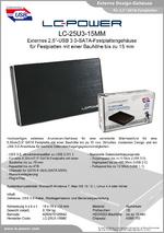 """Datenblatt 2,5""""-Festplattengehäuse LC-25U3-15MM"""