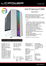 Datasheet M-ATX case Gaming 711MW Daybreak_X