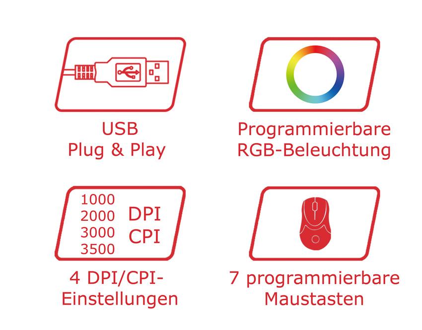 Optische RGB-USB-Maus m715B Logos