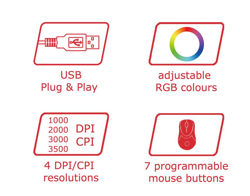 Optical RGB USB mouse m715B logos