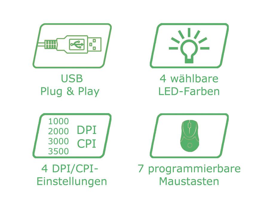 Optische RGB-USB-Maus m715W Logos