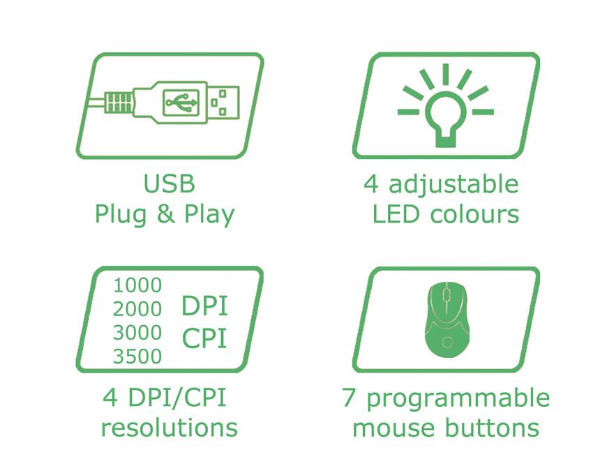 Optical RGB USB mouse m715W logos