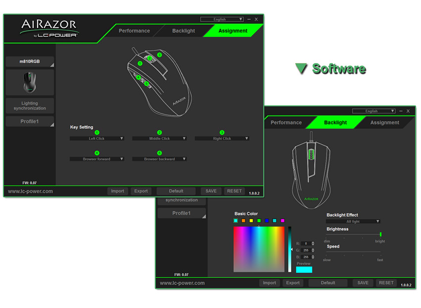 Optical RGB USB mouse m810RGB software